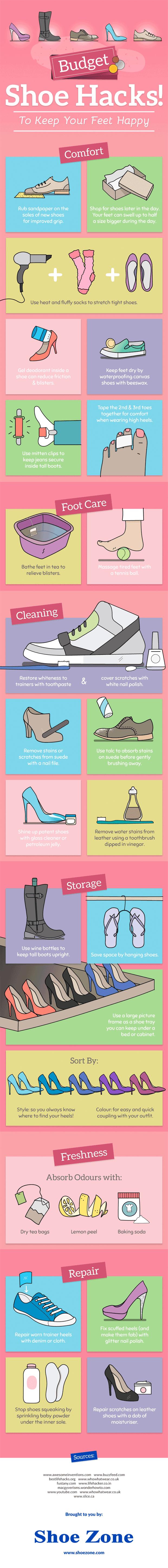 infografía trucos que puedes emplear con los zapatos